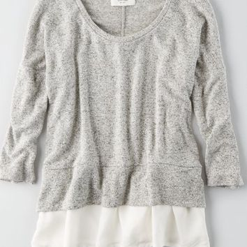 AEO Plush Scoop Neck Sweatshirt, Grey   American Eagle Outfitters