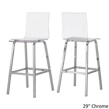 Miles Clear Acrylic Swivel High Back Bar Stools with Back (Set of 2) by iNSPIRE Q Bold | Overstock.com Shopping - The Best Deals on Bar Stools