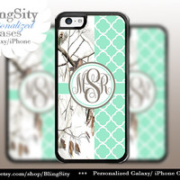 Monogram Iphone 5C case iPhone 5s Mint Tree Camo iPhone 4 case Ipod 4 5 Touch case Real White Quatrefoil Realtree Personalized
