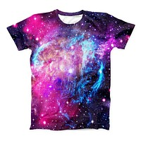 The Bright Trippy Space ink-Fuzed Unisex All Over Full-Printed Fitted Tee Shirt