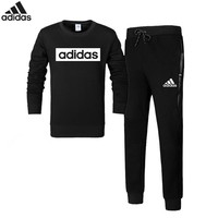 ADIDAS autumn and winter new casual men's sportswear plus velvet warm two-piece Black