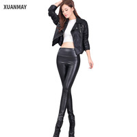 2017 new Sexy Ms. PU leather Pencil pants skinny skinny ladies Casual pants Large size women's trousers