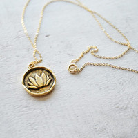 Lotus Gold Coin Charm Necklace