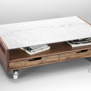 Marble Coffee table, center table , living room table made of solid walnut/oak board