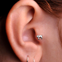 CAT / TRAGUS /  Cartilage stud / Ring / Sterling Silver. Handcrafted