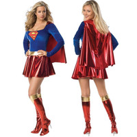 2016 New Supergirl Adult Women Sexy Superwoman Dress Superhero Halloween Costume Hot Cosplay Costumes