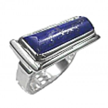 Sterling Silver Rectangular Cabochon Ring with Raised Frame
