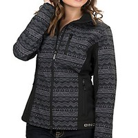 Cinch Women's Printed Charcoal Aztec Print with Black Accents Bonded Softshell Jacket
