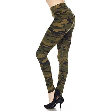 Olive Camo Leggings by Queens Designs
