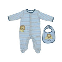 Little Me Boys Striped Infant Boys Footed Pajamas