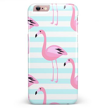 Pink Flamingos Over Blue Stripes iPhone 6/6s or 6/6s Plus INK-Fuzed Case