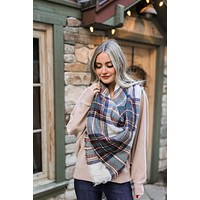 Mad For Plaid Blanket Scarf In Wine + Sage