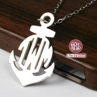 Personalized vine font 2 initial 1.25 inch monogram necklace --925 sterling silver gift necklace