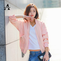 Pink Bomber Jacket Women Spring Stand Collar Classic Simple Baseball Jacket Veste Femme Manche Longue Korean Cardigan FA1965