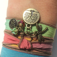 Tree of Life Dragonfly Silk Wrap Bracelet Yoga Jewelry Om Namaste Bohemian Jewelry Earthy Unique Gift Under 50 Item Z13