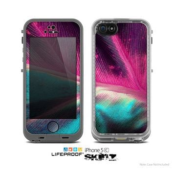 The Neon Pink & Green Leaf Skin for the Apple iPhone 5c LifeProof Case
