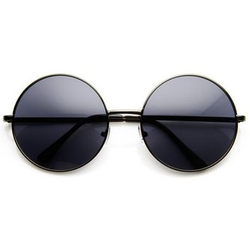 zeroUV - Super Large Oversized Metal Round Circle Sunglasses (Gold Green)