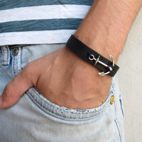 Men's Bracelet - Black Leather Bracelet With Silver Plated Anchor - Mens Jewelry - Nautical Jewelry - Anchor Jewelry - Gift for Him