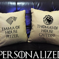 Custom Personalized Game of Thrones  Throw Pillow cover, Game of Thrones Gift, valentine Wedding gift,Family pillow, canvas pillow cover