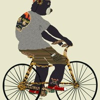 """bear biker"" - Art Print by brian buckley"