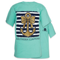 SALE Southern Couture Gold Glitter Anchor Bow Comfort Colors Mint T-Shirt