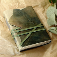 Stitched Leather Journal - Rusty Green Blank Book - Rustic Travel Journal Leather Journal -  Morning Dew