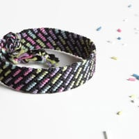 "unisex friendship bracelet from statistically colored threads, macrame cuff wristlet, colorful string bracelet, ""stripes"" 15cm (5,9 inch)"