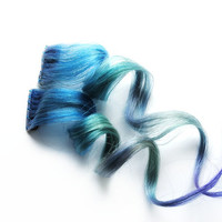 Human Hair Extension, Spring extension hair, extension, blue, green, purple clip in hair, Tie Dye Colored Hair - Tropical Island