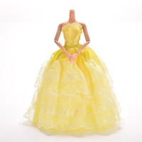 Princess Dress Gown Yellow Dress For Barbie Doll Dress Girl Pretend Play Baby Girl Toy Gift Doll Accessories