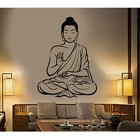 Buddha Wall Decal Buddhism Om Relaxation Zen Meditation Decor Unique Gift (z2667)