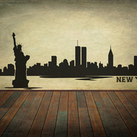 New York City Skyline Wall Decal Vinyl Wall Art Skyline Sticker Choose A Size Wall Decor