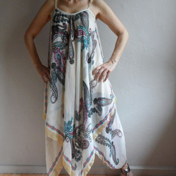 Spaghetti Strap Beach Cover up, Long Dress, Maxi Dress, Floral Paisley Pattern, Plus Size Dress in Cream Brown Green Purple Pink