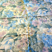 Drapery Weight Fabric /  Floral Fabric / Fabric Remnant / Shabby Chic