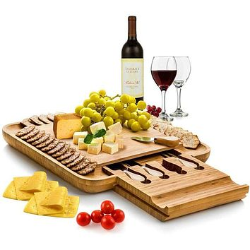Premium Bamboo Cheese Charcuterie Board and Knife Set with Hidden Slid-Out Drawer