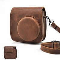 HelloHelio Vintage PU Leather Case with Strap for Fujifilm Instax Mini 8, Brown
