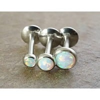 White Opal 16 Gauge (8mm) Cartilage Earring Tragus Monroe Helix Piercing You Choose Stone Size