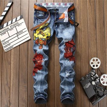 Denim Ripped Holes Embroidery Blue Slim Pants [10766092291]