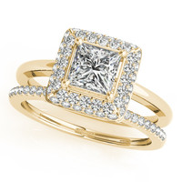 Wedding Set Princess Cut Bezel Set Diamond Halo Engagement Ring with Matching Diamond Band - Belle