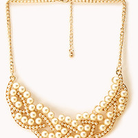 Luxe Faux Pearl Bib Necklace