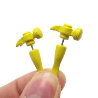 Fake Gauge Earrings: Realistic Hammer Shaped Front and Back Stud Earrings in Yellow