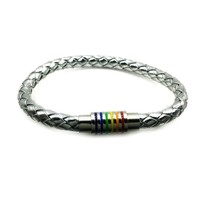 Silver Leather Rainbow StainlessSteel Magnet Buckle Bracelet Gay Pride Bracelet With Stainless Steel Accessories Male Jewlery