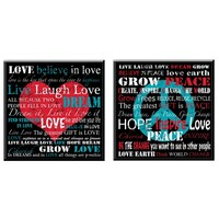 Love Peace Wood Wall Art (Set of 2) (1131) - Illuminada