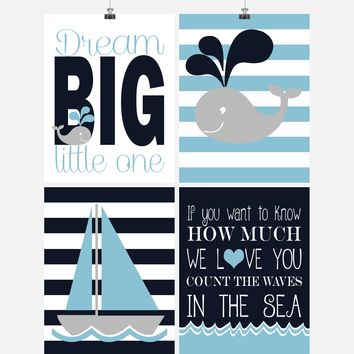 Nautical Nursery Decor Set of 4 Art Prints - If you want to Know how much we Love you Count the Waves in the Sea