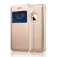 iPhone 6 Case, iPhone 6 4.7inch [Stand Defender] Case, [View Window] Folio Cover, [Magnet Closure Feature] Slim Flip Case For iPhone 6 4.7 inch (MM504) (Gold)