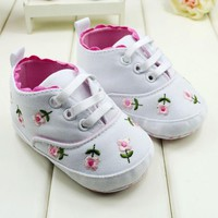 Baby Shoes Shoes Toddler White Lace Embroidered Soft Shoes S01