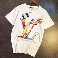 LV Louis Vuitton Newest Hot Sale Women Men Loose Print Short Sleeve T-Shirt Top Blouse