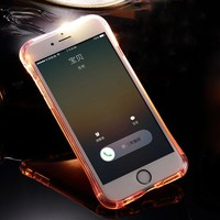LED Flash TPU Case For iPhone 5 5S 5SE 6 6S 7 8 Plus Cases Transparent Luminous Back Cover For iPhone X Up Remind incoming