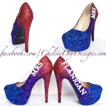 Glitter Wedding High Heels, Red Blue Ombre Platform Pumps with New Last Name
