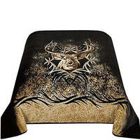 """Euphoria CaliTime Brand Super Soft Fleece Prints Throw Blanket for Sofa Couch Lounge Bed Bedding Moment of Truth Buck Head Single Size 60"""" X 87"""""""
