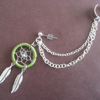 Lime Dream Catcher Ear Cuff Chain Cartilage by Azeetadesigns